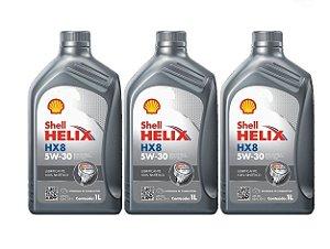 Kit Com 03 Litros De Óleo Shell 5w30 Sintético Para Hyundai Hb20 1.0 Kia Picanto 1.0