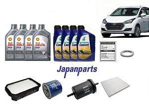 Kit De Filtros Hyundai Hb20 1.6 Flex Com Óleo Shell 5W30 Sintético e Aditivo Do Radiador