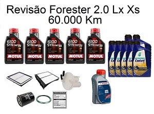 Kit Revisão Subaru Forester 2.0 Lx Xs 60 Mil Km Com Óleo Motul 5W30 6100 Sintético