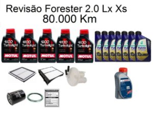 Kit Revisão Subaru Forester 2.0 Lx Xs 80 Mil Km Com Óleo Motul 10W40 Turbolight