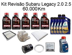 Kit Revisão Subaru Legacy 2.0 2.5 60 Mil Km Com Óleo Motul 6100 Syn-nergy 5W30 Sintético