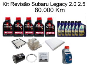 Kit Revisão Subaru Legacy 2.0 2.5 80 Mil Km Com Óleo Motul 4100 Turbolight 10W40 Semi-Sintético