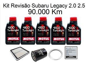 Kit Revisão Subaru Legacy 2.0 2.5 90 Mil Km Com Óleo Motul 4100 Turbolight 10W40 Semi-Sintético