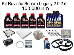 Kit Revisão Subaru Legacy 2.0 2.5 100 Mil Km Com Óleo Motul 10W40 Turbolight Semi-Sintético