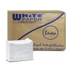 Toalha Interfolha LUXO White Paper 21x23 com 1000 unidades