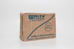 Toalha Interfolha CELULOSE White Paper 21x23 com 1000 unidades