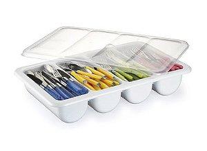Caixa Organizadora Plástico com Tampa 4 Divisórias Branca Bioprátika
