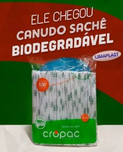 Canudo embalado Biodegradável Milk shake 6mm
