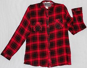 Camisa Xadrez Manga Longa Feminina
