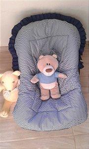 Capa para Bebê Conforto - Chevron azul marinho - Pequeno Brilhante