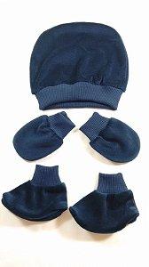 Conjunto com Touca, Luva e Sapatinho para Bebê RN - Azul Marinho