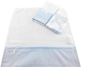 Fralda de Boca com Barrado - 3 Peças - Tema Terra Mágica Azul fundo Branco
