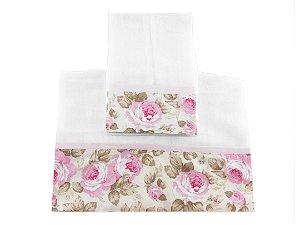 Toalha Fralda & Toalha Ombro - Floral - Rosa