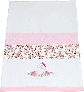 Cueiro Flanelado - Flores Rosas