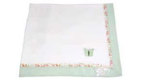 Cobertor Soft com Barrado Poá e Floral aplicação 3D
