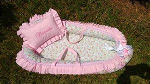 Ninho Berço para Bebê - Rosa + Travesseiro
