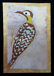Cartão Artesanal - Pica-pau-do-campo 1 - Batik