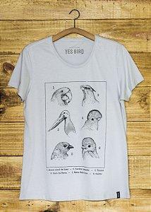 T-Shirt Feminina Aves e Biomas - Cinza