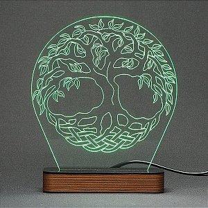 Luminária Acrílico e Led Arvore da Vida