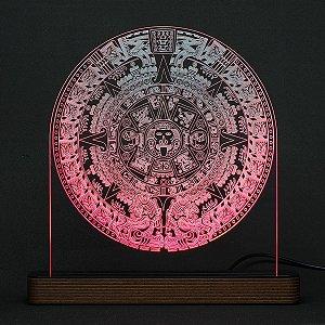 Luminária Acrílico e Led Calendário Asteca (Pedra do Sol)