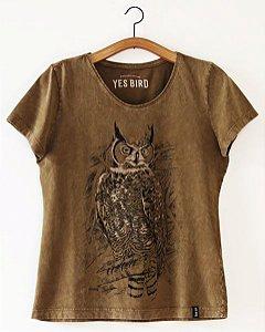 Camiseta Feminina Jacurutu - Marrom Estonado