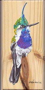 Arte em Madeira - Beija-flor-de-topete