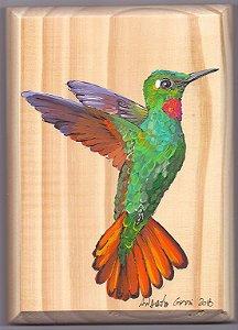 Arte em Madeira - Beija-flor-rubi