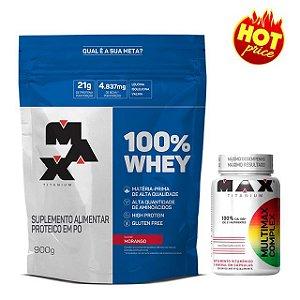 KIT Whey 100% 900g Refil + Multivitaminico 90 cápsulas Max Titanium