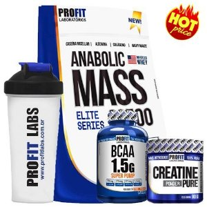 COMBO Hipercalórico Anabolic Mass 3kg + Creatina 90g + Bcaa 60 cápsulas + Coqueteleira - Profit