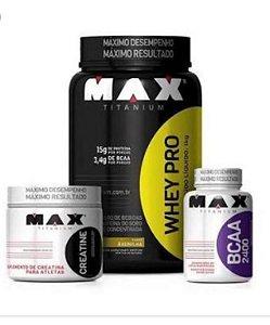 Combo Whey Pro 1kg + Creatina 100g + Bcaa 60 cápsulas - Max Titanium
