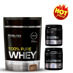 Combo Probiotica Whey Protein 100% Pure 825g + Creatina 300g + Glutamina 300g