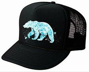 Boné urso trucker preto