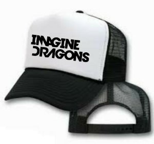Boné imagine dragons trucker preto e branco