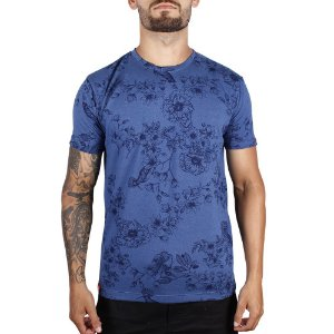 Camiseta Floral Full Print Adrenalina - Azul Royal