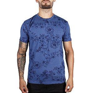 Camiseta Floral Full Print Adrenalina - Azul Royal