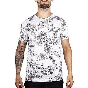 Camiseta Floral Full Print Adrenalina - Branca