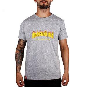 Camiseta Fire Adrenalina Company - Cinza Mescla