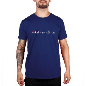 Camiseta Adrenalina Azul Royal - Silk Branco/Vermelho