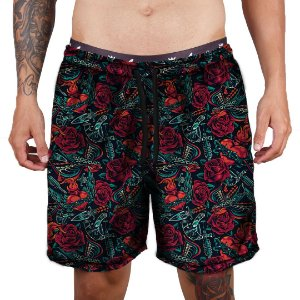 Short Praia Tactel Adrenalina - Red Roses