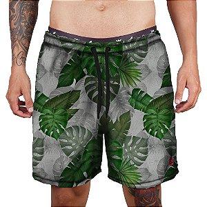 Short Praia Tactel Adrenalina - Green Flowers