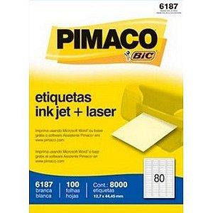 ETIQUETA LASER C/100 12,7X44,45 6187  PIMACO