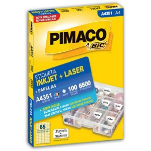 ETIQUETA LASER PIMACO A4351- COM 100 FOLHAS (6.500 ETIQUETAS)