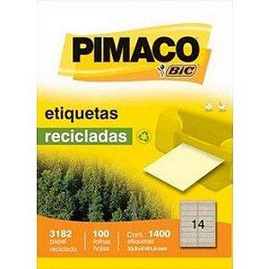 ETIQUETA LASER RECICLADA PIMACO 3182 - COM 100 FOLHAS (1.400 ETIQUETAS)