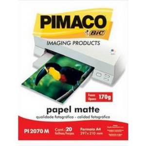 PAPEL PHOTO A4 FOSCO MATTE 170G PI2070M 20F J.TINTA