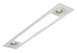 LUMINÁRIA EMBUTIR MAGNUM RETANGULAR TUBULAR T8 LED + 2 PAR20 USINA 3620