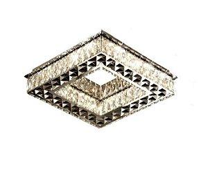 PLAFON QUADRADO 3D CROMO CRISTAL EM LED + CONTROLE REMOTO