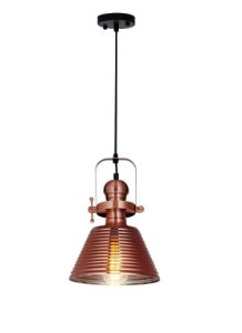 PENDENTE COPPER GLASS METAL E VIDRO COBRE 1XE27