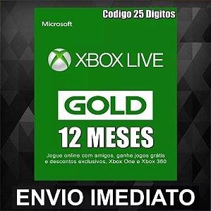 Assinatura Xbox Live Gold 12 meses (Código digital)