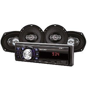 Kit Automotivo Mp3 One Multilaser Quatro Alto Falantes + Rádio Fm + Entrada SD E Usb