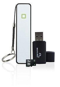 Kit Power Bank + Pendrive + Cartão De Memória 8gb Multilaser